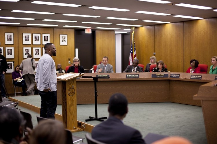 LINC Co-Executive Director Derel Ross addresses city commissioners on December 2 at City Hall