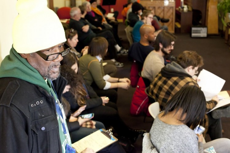 A packed crowd filled the first workshop for Black Lives Matter Grand Rapids, held at Heartside Ministries