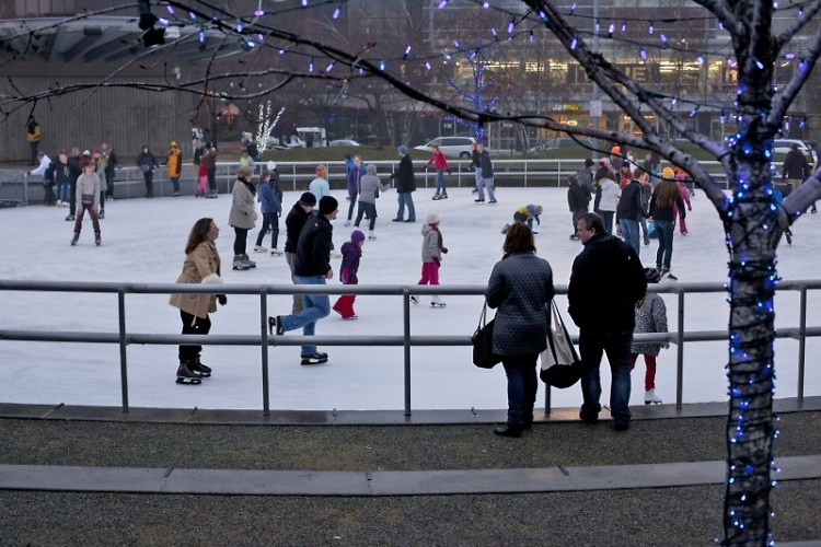 Rosa Parks Circle Gets Icy, Open To Skaters