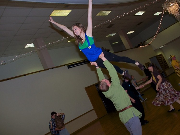 A pair of swing dancers went for a lift during a Halloween themed night at the Masonic Center on Tuesday, November 1.