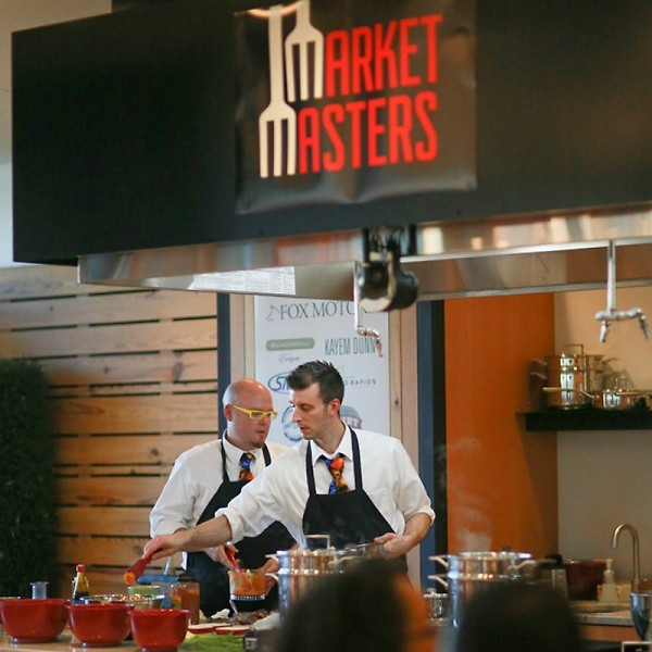 Chef Michael Dewicki and his sous chef, Matt Overdevest at last year's Market Masters competition.