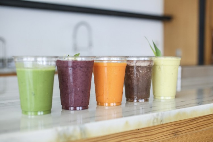 Selection of smoothies and juices from Alt City Beverage Company