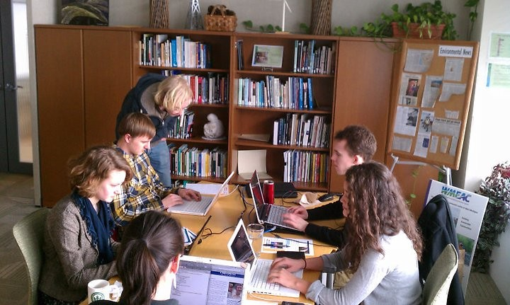 Interns at work in the WMEAC offices, 1007 Lake Drive SE, which will house the Environmental Bureau.