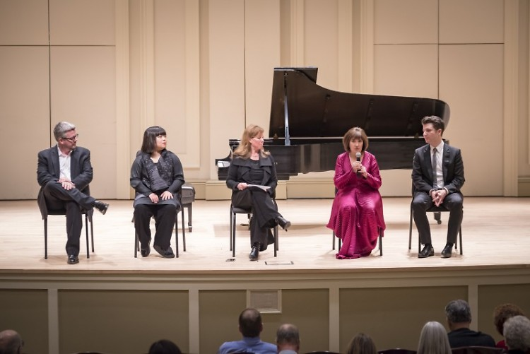 Cathy Holbrook (center), leads a discussion with (left to right) Paul Watkins, Yura Lee, Ani Kavafian, and Alessio Bax.