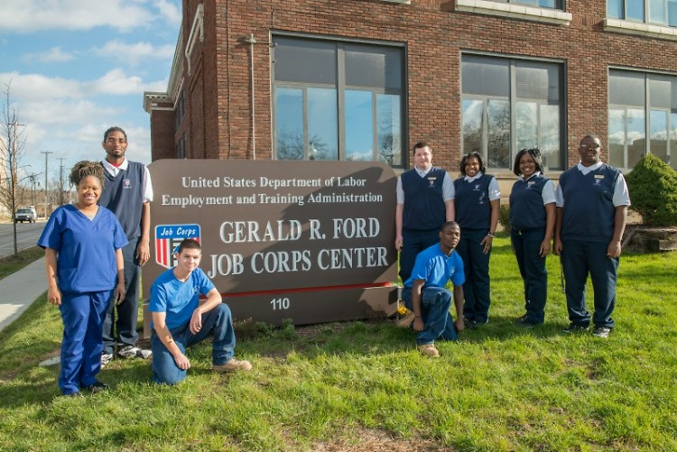 Job Corps students outside the Gerald R. Ford Center