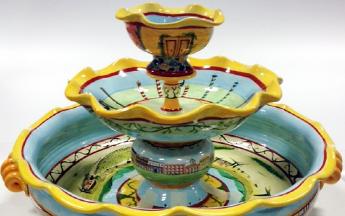 Jim Wilde, hand-painted tabletop fountain featuring scenes from Venice