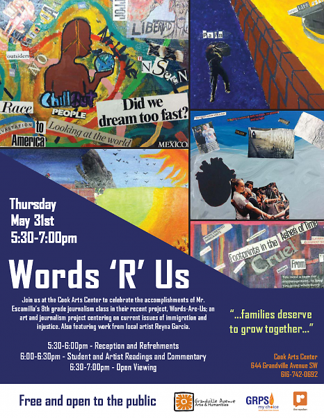 Words 'R' Us Flyer for the Student Exhibit and Presentation