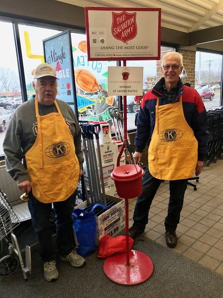 The Grand Rapids Kiwanis Club rings bells at Family Fare store on Northland Drive on Saturday