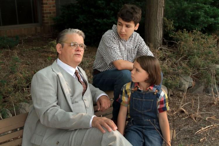 L-R Mark Kincaid (Atticus Finch), Adam Chamness (Jem), Ava Britt (Scout)