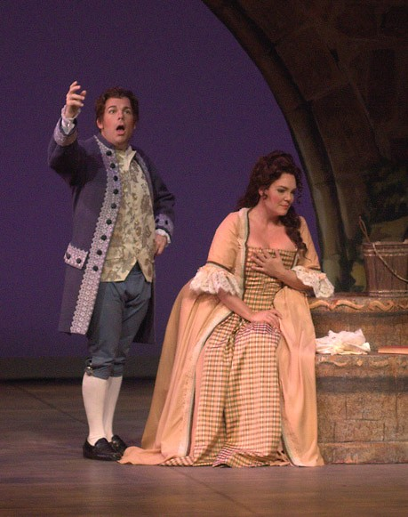 Manon Lescaut, sung by Jill Gardner, meets Chevalier Des Grieux, her main love interest played by Marco Panuccio.