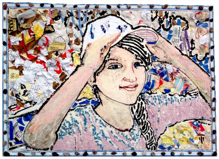 Raising Hope1 mosaic created from waste materials at The Potter's House School building project