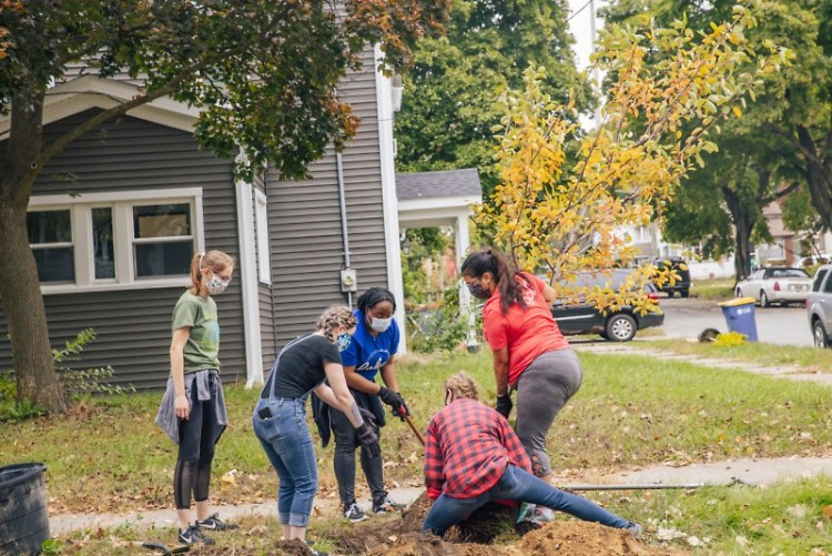 Volunteers planting trees during a previous Mayor's Greening Initiative event.