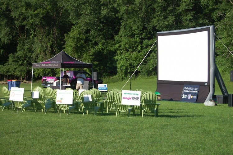 Movies in the Park's 2019 setup, during a 2020 Green Gala fundraising event.