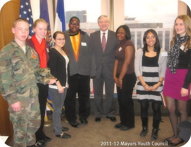 Members of the Mayor's Youth Council with Mayor George Heartwell