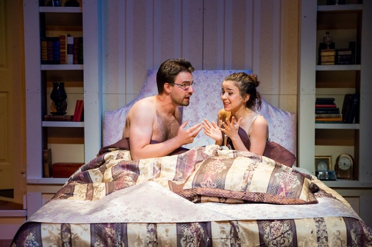 Nate Reynolds and Madeline Jones open up the play in bed.