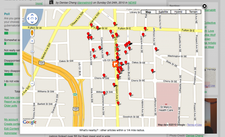 "Nearby Articles, one of our newest features (hint: click the ""nearby articles"" link under the map to the right)"
