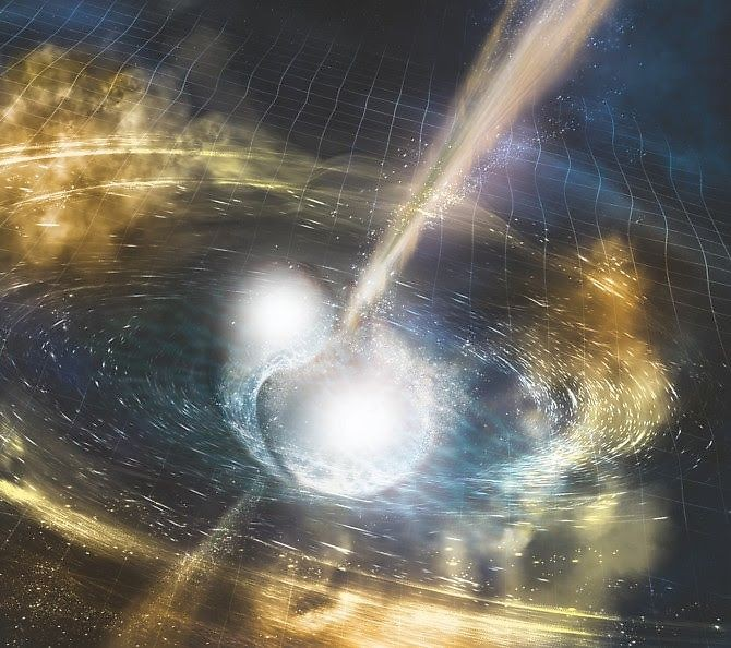 Neutron stars merging, gravitational and gamma rays