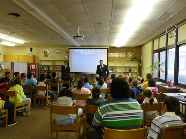 Students at Shawmut Hills Elementary learn about the U.S. Constitution from attorneys.