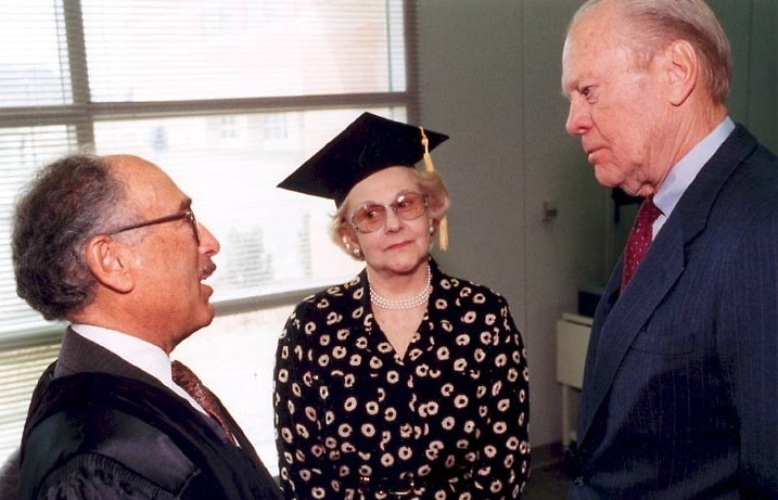 Seymour and Esther Padnos with President Ford at the dedication of the Padnos Hall of Science in 1996.