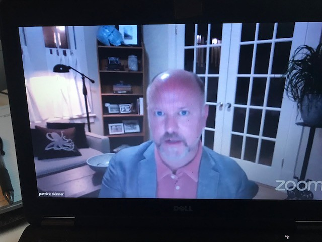 Patrick Skinner on Zoom from Savannah, Ga.