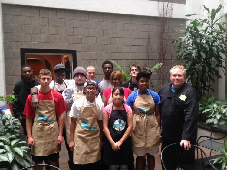 Tommy Fitzgerald (right) and Kitchen Sage students
