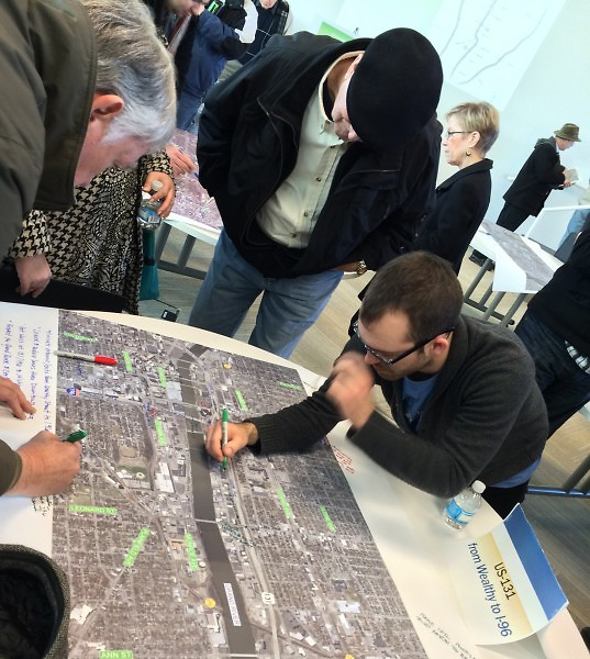 Residents identifying areas of concern on Kent County highway maps