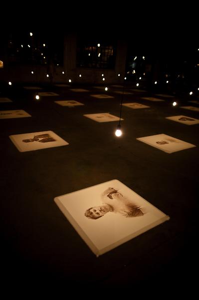 Young Kim's Salt & Earth installation were salt portraits of Grand Rapids residents.
