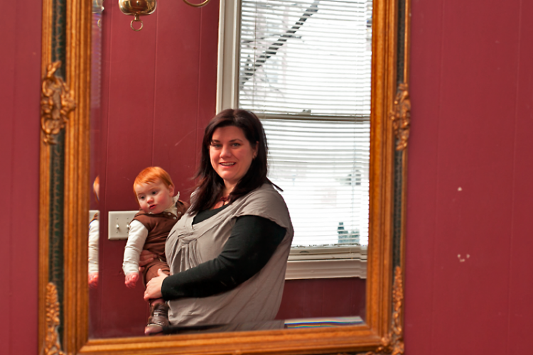 Sara Badger and son in the foyer