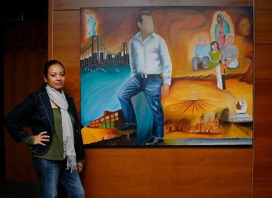 Garcia with one of her pieces featured in ArtPrize.