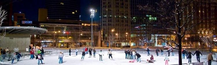 Rosa Parks Circle ice skating rink.