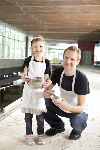 McKellar and his daughter Ruby make ice cream together.