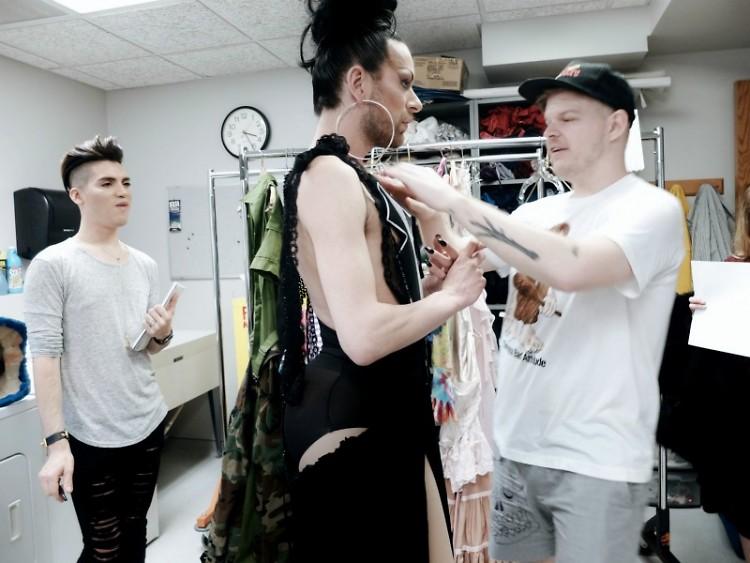 New York designer Brad Callahan, aka BCalla, prepares his wearable art for the Rumsey Street Bazaar's show on Saturday, June 11.