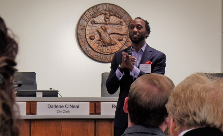 Calvin Gladney,  a Rose Center adviser, shares findings from a study of equity in Grand Rapids development.