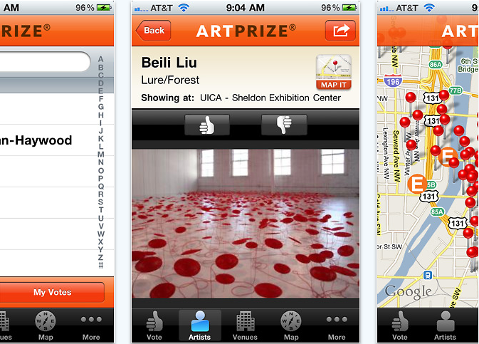 The free ArtPrize iPhone application, where users can search artists and venues, vote and browse images of ArtPrize entries.
