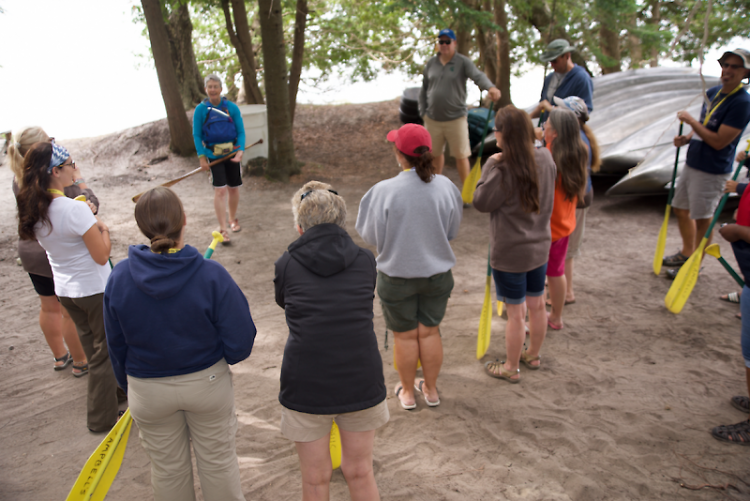 In July, eighth-grade environmental science teacher Leslie Montgomery picked up some practical paddling techniques.
