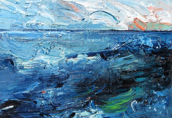 "Sheryl Budnik, Rhythm of Surf, 12.25""x 8.5"", oil on linen canvas mounted on birch panel"