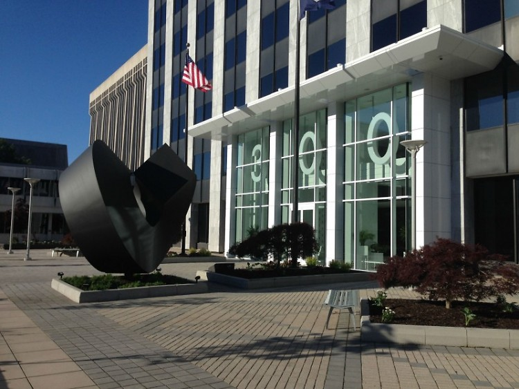 """Split Ring,"" by sculpture Clement Meadmore is now on display at 300 Ottawa, the office of the Grand Rapids Symphony, downtown."