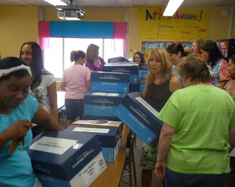 Buchanan teachers gather to pick up school supplies for their classrooms.