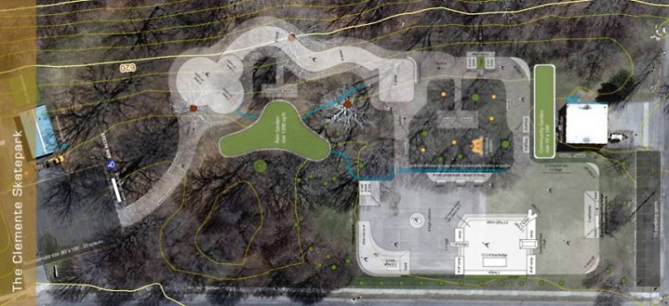 Plan of the skate park laid over an aerial view of the current park. Click to enlarge.