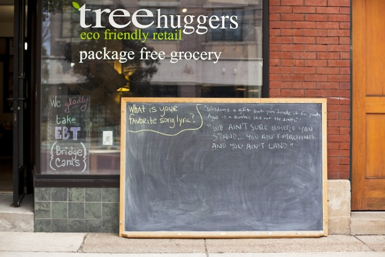 Tree Huggers displays a donated chalkboard posing a questions to passersby.