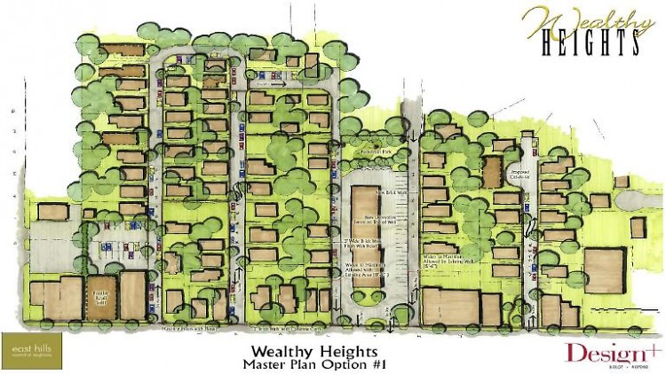 Rendering of houses planned for the Wealthy Heights neighborhood.
