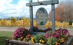 Bowers Harbor Vineyards front sign welcomes visitors