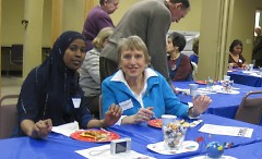 Former student Sadia Abdi and her tutor Elizabeth Gerritsen attended the event together.
