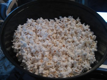 My new best friend & constant companion: bowl of air-popped popcorn