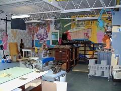 The printmaking space at Dinderbeck.