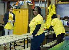Volunteers worked on MLK day to get picnic tables ready for spring.
