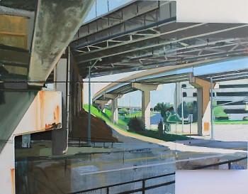 """Steven Vinson. """"131 N over Bridge St."""" Oil on assemblage. 60"""" x 56."""" 2011."""