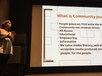 Briana Urena-Ravelo defines community journalism during our event Thursday, August 18 at Wealthy Theatre's micro-cinema.