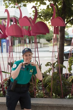 """A Downtown Ambassador was very helpful in finding artwork and even posed for a picture for me in front of """"250 Flamingos"""""""
