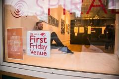 Steven Vinson in the window of Spiral Gallery